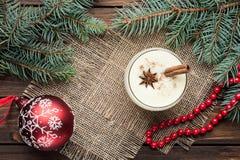 在玻璃的蛋黄乳鸡尾酒安排了与在w的圣诞节装饰 库存照片