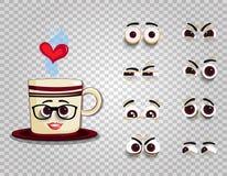 在玻璃的Emoji杯子与眼睛为创作喜剧人物设置了 库存图片