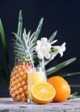 在玻璃秸杆的新鲜的汁液从热带水果 库存照片