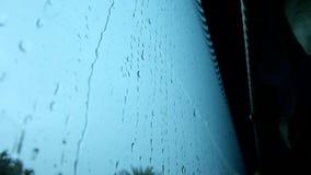 在玻璃窗的雨下落 股票视频