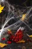 在玻璃管的血淋淋的鸡尾酒万圣夜党庆祝的 库存图片