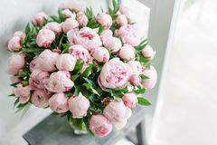 在玻璃花瓶的可爱的花 桃红色牡丹美丽的花束 花卉构成,场面,白天 墙纸 库存照片