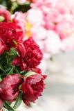 在玻璃花瓶的可爱的花 红色牡丹美丽的花束  花卉构成,场面,白天 墙纸 库存照片