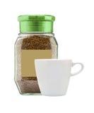 在玻璃银行芬芳和空白杯子的咖啡 免版税库存图片