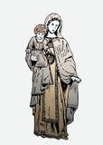 在玻璃-圣女玛丽亚和小耶稣的绘画 库存照片