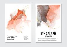 在珊瑚金子颜色的时髦水彩墨水背景 居住的珊瑚党邀请模板,介绍设计,笔记本 皇族释放例证