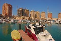 在珍珠的褐红的Yatch在多哈卡塔尔 免版税库存图片