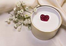 在珠宝商小箱的红色心脏 免版税库存照片