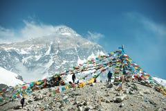 在珠峰营地的壮观的山风景 库存照片