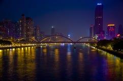 在珠江的桥梁在广州市 免版税库存照片
