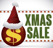 在球的圣诞老人的帽子在Xmas销售的,传染媒介增进标志 向量例证