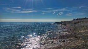 在理想的太阳的完善的海滩 免版税库存照片