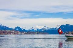 在琉森湖,瑞士的风景 库存图片