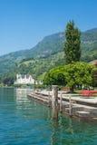 在琉森湖,瑞士的Vitznau 免版税库存图片