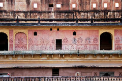 在琥珀色的堡垒斋浦尔里面,印度 免版税库存图片