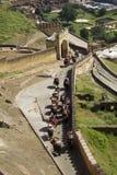 在琥珀色的堡垒斋浦尔,印度的大象乘驾 免版税库存照片