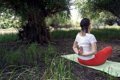 在瑜伽位置的凝思 免版税库存照片