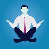 在瑜伽位置的商人 安静在事务放松 库存图片