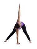 在瑜伽姿势的妇女立场查出 免版税库存图片