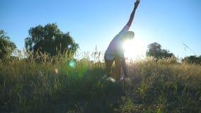 在瑜伽姿势的运动的人身分在草甸的席子 在领域的年轻人训练在一个晴朗的夏日 夏天 股票视频