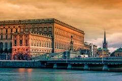 在瑞典王宫的秋天日落 库存图片