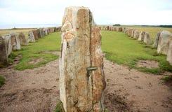 在瑞典语Kaseberga附近的强麦酒石头 库存照片