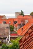 在瑞典镇维斯比的看法 库存图片