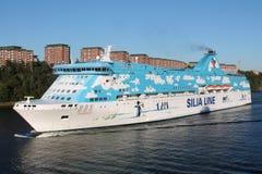 在瑞典附近的大船 库存图片