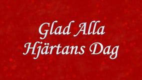 在瑞典高兴的Alla在红色背景的Hjartans Dag的愉快的情人节文本 免版税库存图片