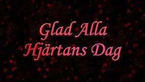 在瑞典高兴的Alla在黑暗的背景的Hjartans Dag的愉快的情人节文本 库存图片