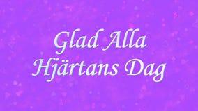 在瑞典高兴的Alla在紫色背景的Hjartans Dag的愉快的情人节文本 免版税库存图片