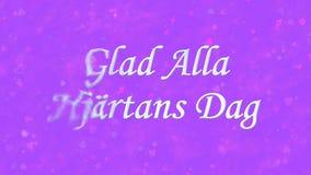 在瑞典高兴的Alla Hjartans Dag的愉快的情人节文本转向从左边的尘土在紫色背景 库存图片