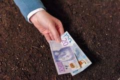 在瑞典货币的银行贷款农工联合企业起动和debel的 免版税库存图片