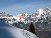 在瑞士阿尔卑斯前面的瑞士旗子在冬天 库存照片