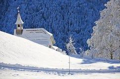 在瑞士雪圣诞节山的Braunwald 图库摄影