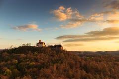 在瓦尔特堡城堡的日落 免版税库存照片