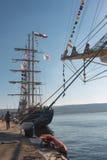 在瓦尔纳海港的高船Kaliakra 图库摄影