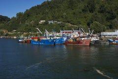 在瓦尔迪维亚河的渔船在智利 库存照片