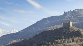 在瓦尔d `奥斯塔,意大利的Ussel城堡 修造Ebalo Challant II在14世纪中叶 免版税库存图片