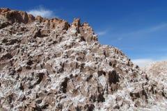 在瓦尔de la月/月球,月亮谷的干燥盐小山在圣佩德罗火山de阿塔卡马沙漠 免版税图库摄影