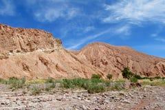 在瓦尔Quitor,圣佩德罗火山de阿塔卡马的看法 库存图片