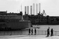 在瓦莱塔,马耳他上的凿岩机腿 免版税库存图片