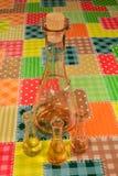 在瓶和三个小玻璃的老李子schnspps 免版税图库摄影