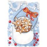 在瓶子卡片的圣诞节曲奇饼 向量例证