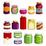 在瓶子和罐头的被保存的食物 库存例证