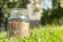 在瓶子的卢比纸币在绿色自然背景 库存图片