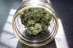 在瓶子的大麻 免版税库存图片