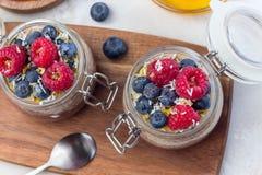 在瓶子的层状巧克力和花生酱chia种子布丁,装饰与莓、蓝莓、蜂蜜和椰子剥落, 免版税库存图片