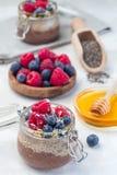 在瓶子的层状巧克力和花生酱chia种子布丁,装饰与莓、蓝莓、蜂蜜和椰子剥落, 库存照片