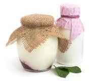 在瓶子的工艺酸奶 库存图片